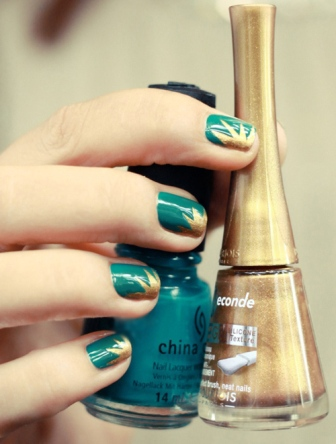 Emarld Green Nails With Reverse French Gold Design Nail Art