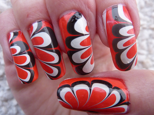 Water Marble Nail Design Art Red Fashion Jewelry Kitsy Lane