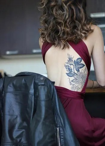 Semi- Back Tattoo Designs for Women