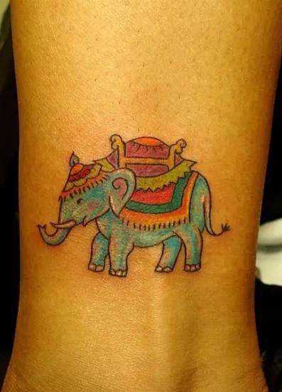 Colorful Elephant Tattoo On Leg