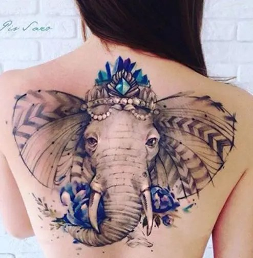 Modern Elephant Tattoo Design On Back