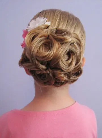 Flower Girl Hair with Looped Up Hairstyle