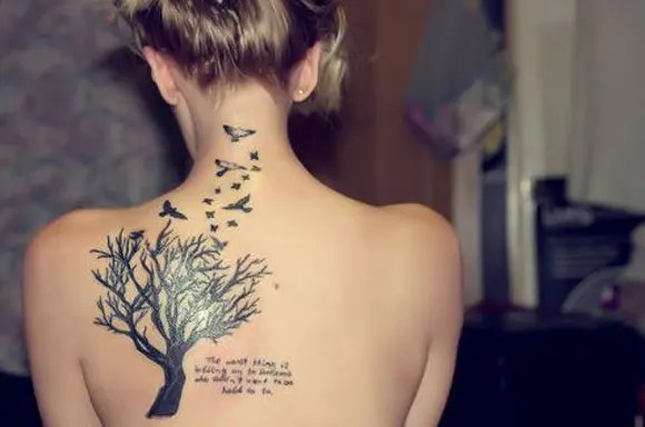 Tree Tattoo Design With Quote And Bird
