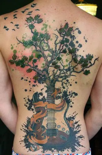 Tree Tattoo With Musical Instrument