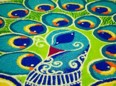 Latest Rangoli Designs Peacock Rangoli Design
