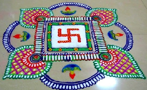 Latest Rangoli Designs Swastik Rangoli Design