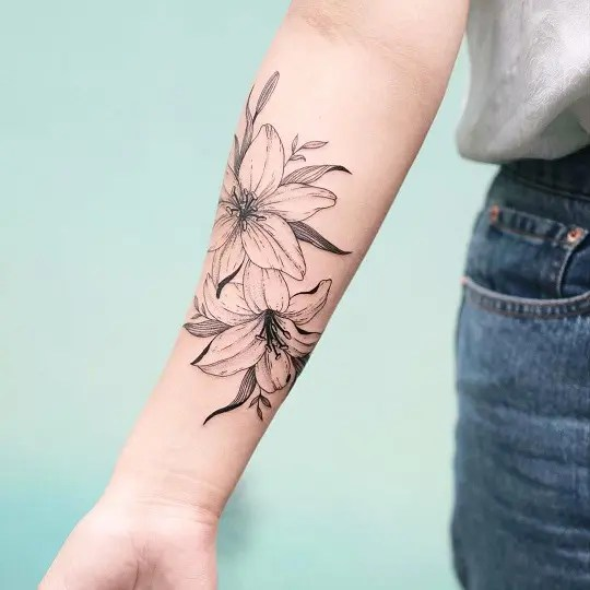 Lily Tattoos on Arm