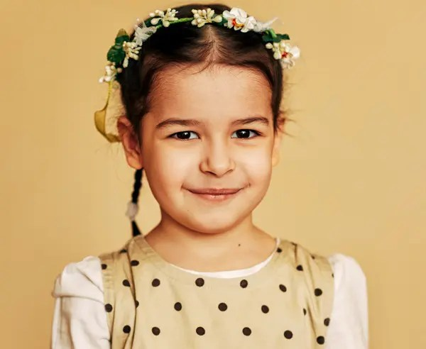 Cute Pigtail With Floral Band For Girls