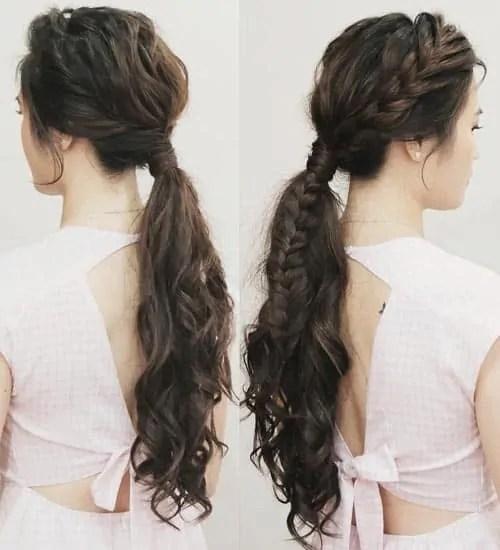 low braided ponytail women