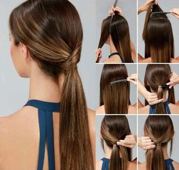 low ponytail straight hair