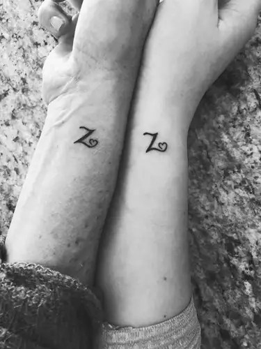 Z Letter Couple Tattoo