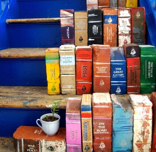 Books as Decoration Book Decor Garden DIY Project Bookends Painted Outdoors