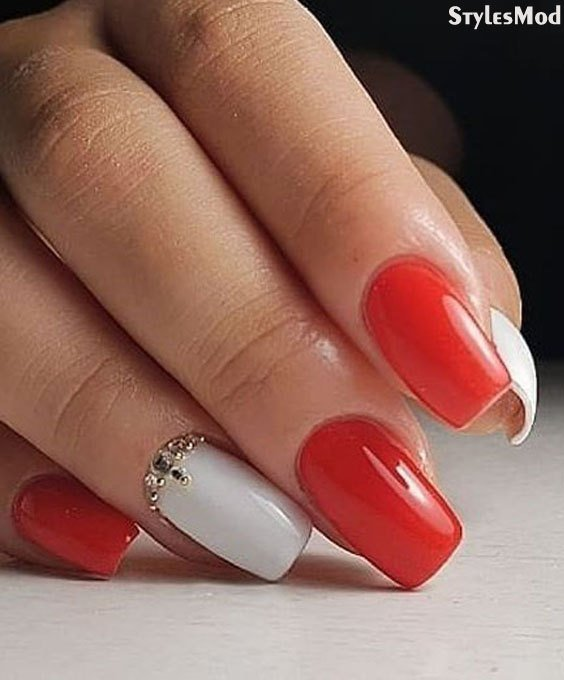 Classic Red & White Nail Art Styles & Design for 2018 Girls | Stylesmod