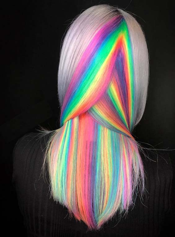 Fantastic Rainbow Hair Colors & Hairstyles for 2018