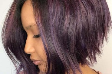 Razor Textured Purple Bob Haircuts for 2018