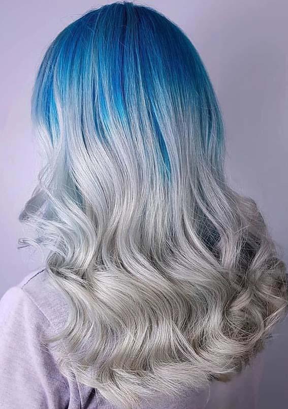 Silver Blue Hair Color Ideas In