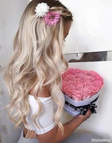 Romantic Wedding Day Hairstyle with Heart Flower for Girls In 2018