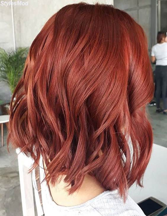Red Shoulder Length Hairstyles to Become More Stylish In 2018