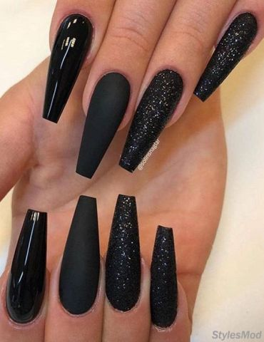 Super Pretty Long Black Nail Styles & Trends for 2018