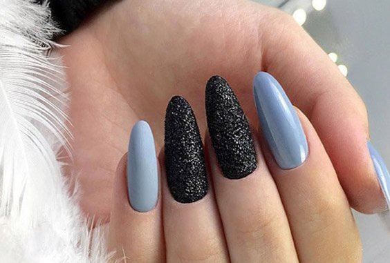 Latest Styles of Baby Blue Nails with Black Design for 2018 | Stylesmod