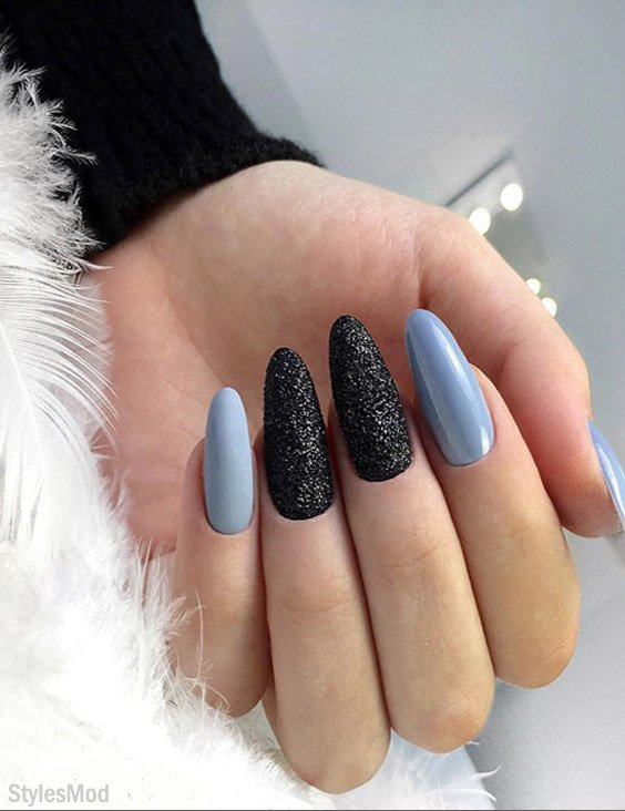 Latest Styles of Baby Blue Nails with Black Design for 2018