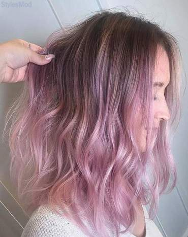 Romantic Ideas of Pink Hair Color Styles for Medium Hair