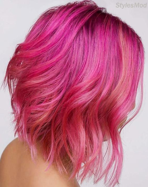 Fresh Look of Pink Hair Color Idea for Short Hair