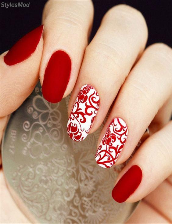 Unique Red & White Nails Designs for 2018