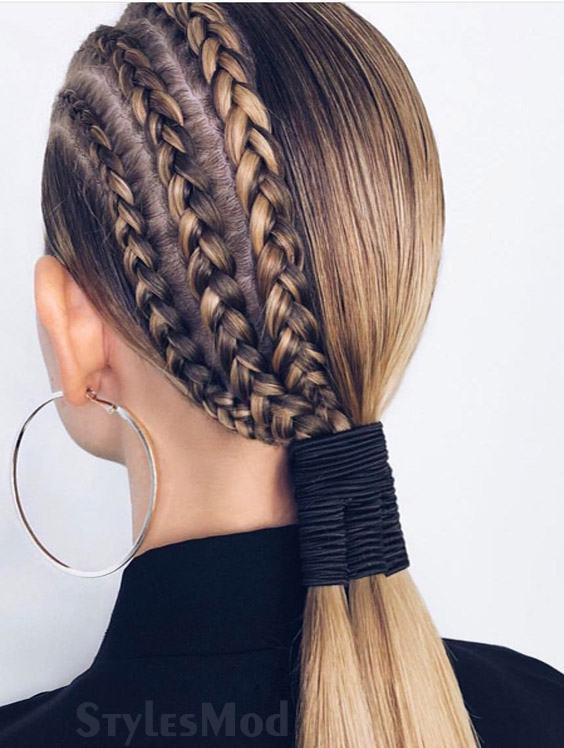 Sleek Ponytail Amp Half Braided Hairstyle Look For 2019