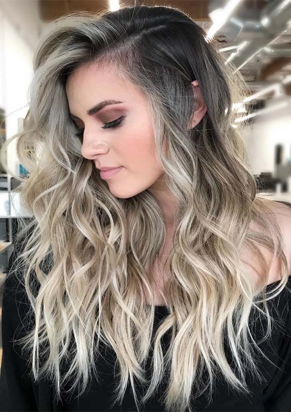 Fresh Blonde Balayage Long Wavy Hairstyles For 2019