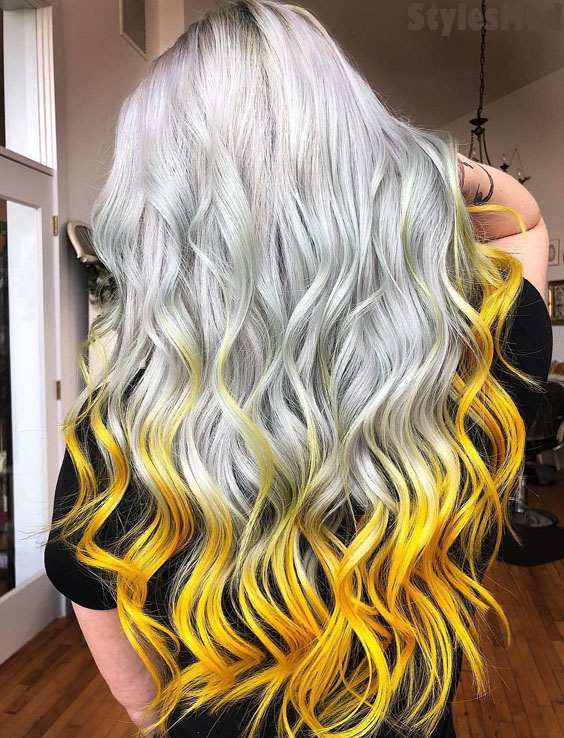 Charming Style of Long Wavy Hairstyle with Yellow Tips for 2019