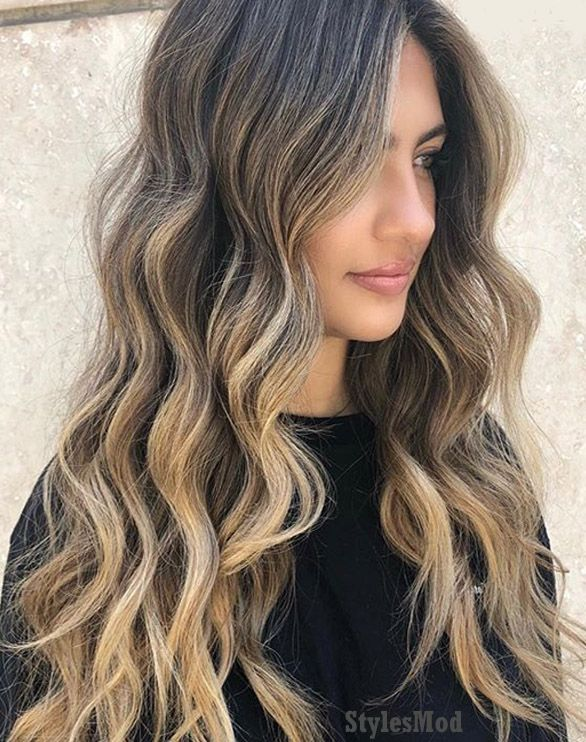 Perfect Curly Long Hairstyle with Brown Shades for Girls