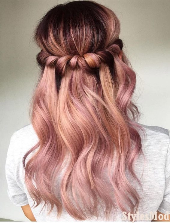 Awesome Half Up Pink Hairstyle & Hair Colors for 2019