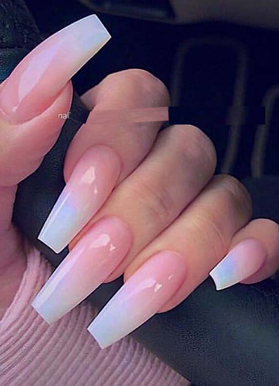 French Ombre On Long Coffin Nails Designs You Must Try