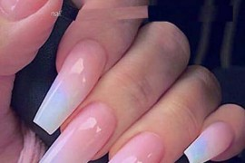 French Ombre on Long Coffin Nails