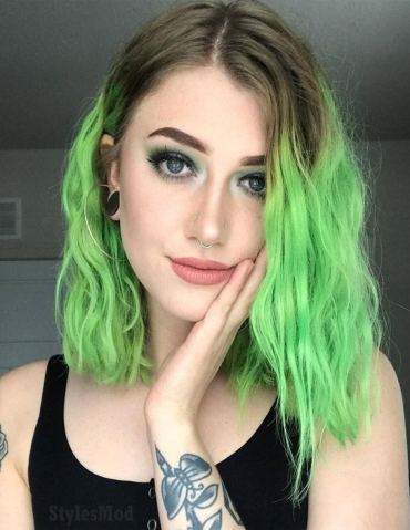 Fresh Green Hair Color Ideas for Short Hair