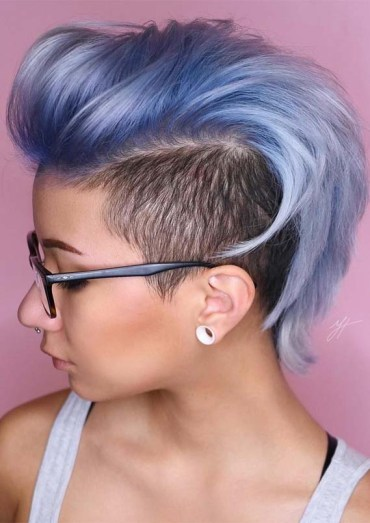 Ice Metallic Blue Undercut Hairstyles for 2019