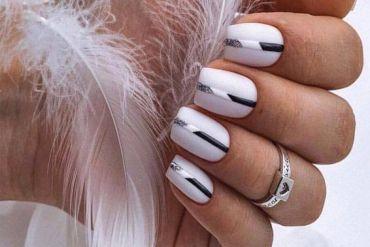 Stylish White & Black Nails Combination for Girls