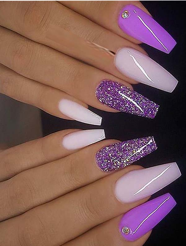 Bright Purple Milky Pink and Glitter on Coffin Nails in 2019
