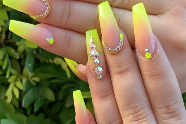 Cute Neon Yellow Nail Art Designs for 2019