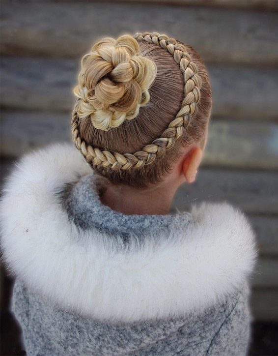 Dutch Lace Braids with Braided Bun Hairstyle for 2019