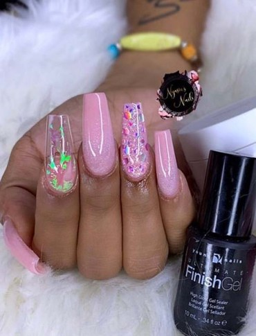 Long Acrylic Pink Nail Arts for Ladies in Year 2019