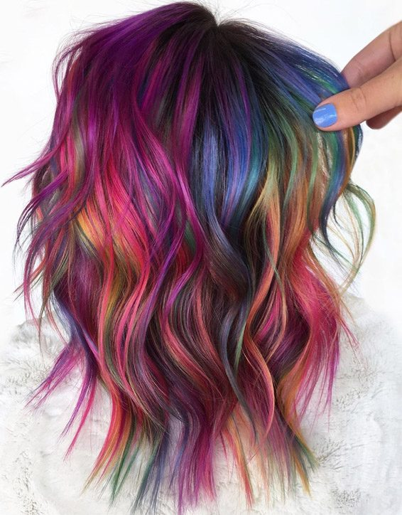 Edgy Look of Rainbow Hair Color for 2020