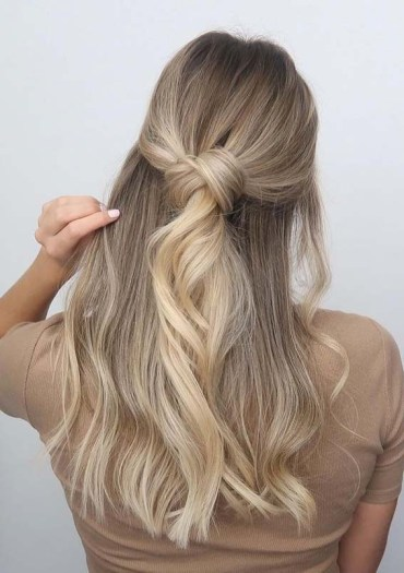 Cutest Knotted Half up Half Down Hairstyles for Long Hair in 2020