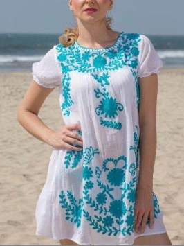 Fiesta Embroidered Gauze Dress, $44