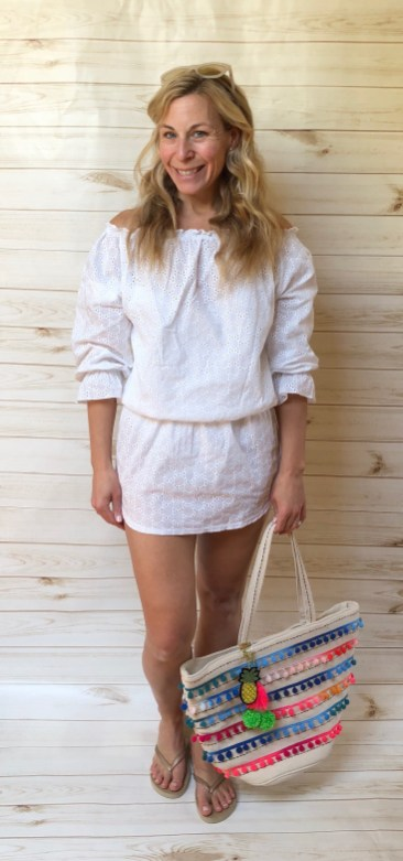 Eyelet Off The Shoulder (or Not) Beach Dress, $34