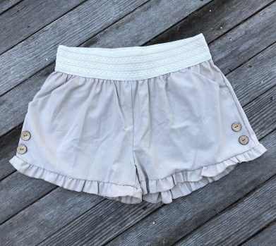 ps kate chambray ruffle hem shorts, $26