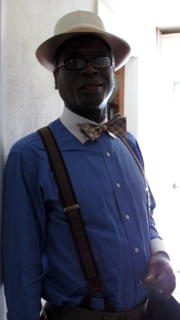 My dad, the Undertaker, with tie and suspenders from Jos. A Banks