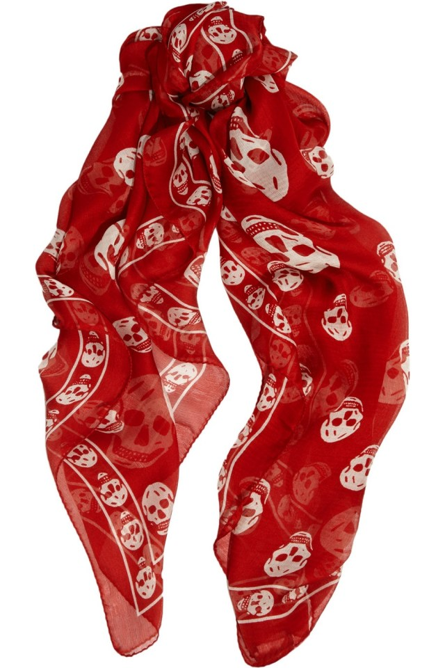 One of my favorite designers, Alexander McQueen skull print scarf...in red!
