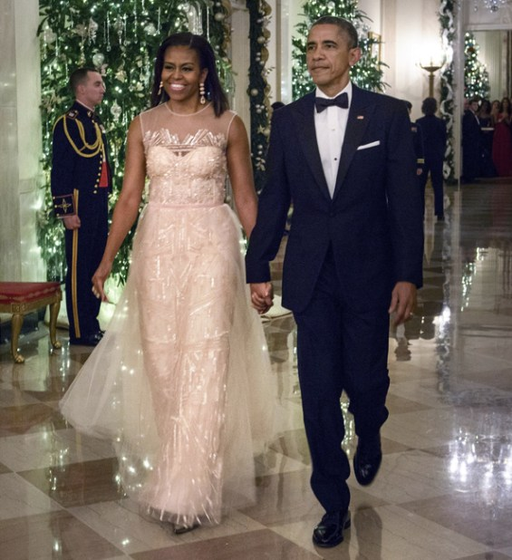 Michelle Obama at the 2014 Kennedy Center Honors in Monique Lhuillier